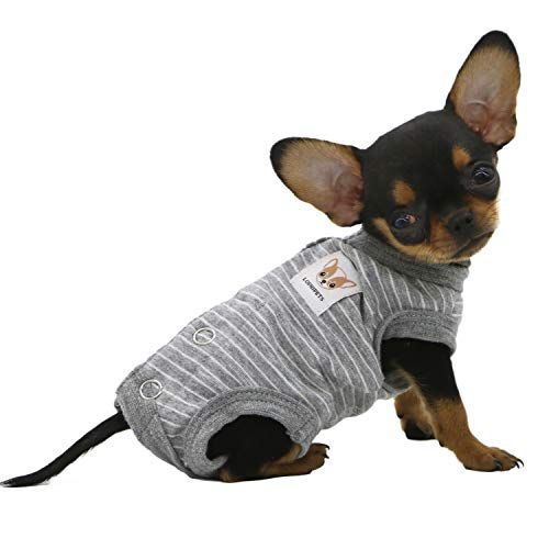 Lophipets 100% Cotton Female Dog Shirts Sleeveless Pajamas for Small Dogs Chihuahua Puppy Clothes-Gray Strips/XS