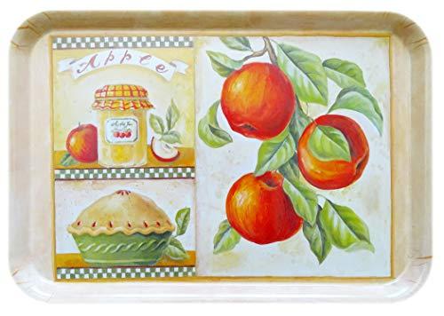 Lashuma Bedrucktes Kunststofftablett Design: Apfelkuchen, Kuchentablett mittel groß 38x26 cm, Gelbes Teetablett