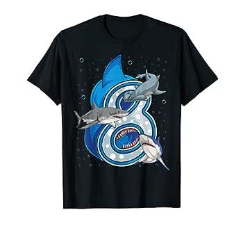 8th Birthday Boys Shark 8 years Old Ocean Shark B-day T-Shirt