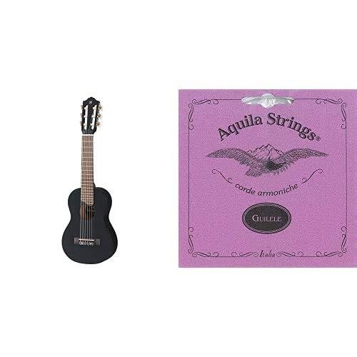 Yamaha GL1 Guitalele, Mini guitarra de madera con las dimensiones de un ukulele, escala de 17 pulgadas, 6 cuerdas de nylon, color Negro + Aquila 96CJuego de cuerdas para guitarra