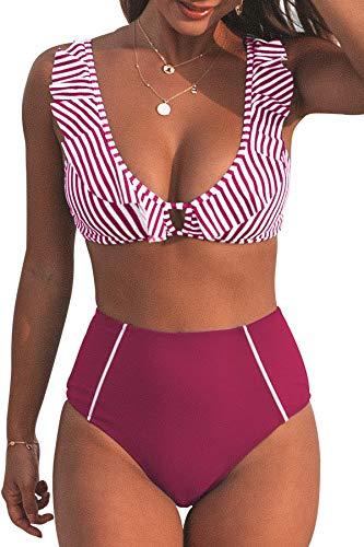 CUPSHE Damen Bikini Set Rüschen V Neck Streifenmuster High Waist Bademode Strandmode Zweiteiliger Badeanzug Lilarot S
