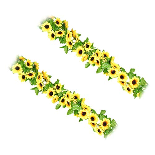 PRETYZOOM 2pcs Artificial Sunflowers Garlands Flowers Sunflower Vines 2. for Home Wedding Home Hotel Office Easter Party Garden Background Decor