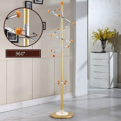 POETRY Revolving kapstok metalen kleerhanger roestvrij staal kleding creatieve plank wit-zwart-goud 185 * 40 * 40 cm (kleur: goud staaf goud hout bal)