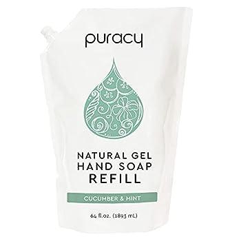 Puracy Hand Soap Refill Cucumber & Mint 64 Ounce Skin Softening Natural Liquid Hand Wash