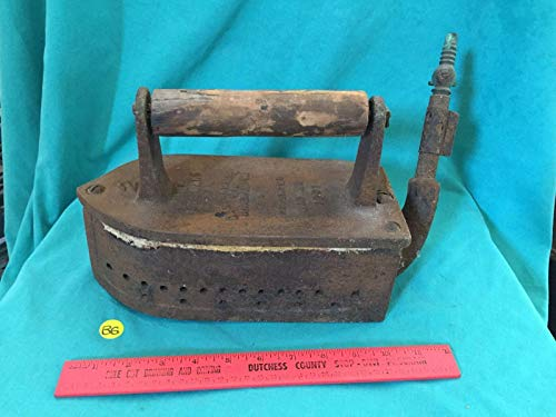 For Vintage Stewart Clothing Iron Central Mfg Co Steam For coal 1901 Primitive Press