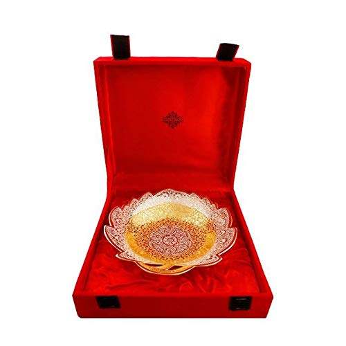 IndianArtVilla Bol de table centrale plaqué argent Motif fleurs en relief Plateau décoratif Coffret cadeau 20,3 cm