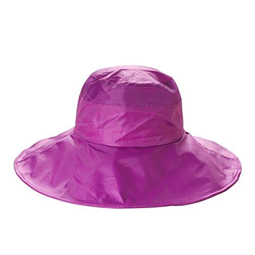 Outdoor UV Protection Rain Cap Waterproof Rain Hat Wide Brim Bucket Hat (Magenta)