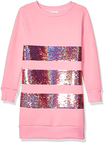Spotted Zebra French Terry Long-Sleeve playwear-dresses, Pink Ice Cream, 9-10 Jahre (Large)