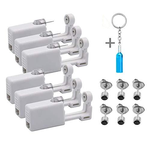 HosDen - Set de 6 pistolas perforadoras para hacer piercings de oreja sin dolor. Para niñas, mujeres y hombres