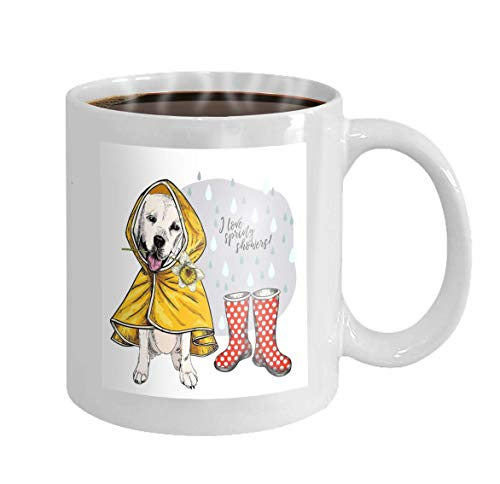 11 oz Coffee Mug Labrador Retriever Yellow Raincoat Gumboots Spring Greeting Card Cute Dog Daffodil Flower i Novelty Ceramic Gifts Tea Cup