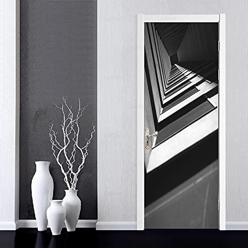 DFKJ Carta murale Stampa Arte Moderna Città Edificio Paesaggio Adesivi per Porte Decorazioni per la casa Immagine Carta da parati autoadesiva impermeabile A14 77x200 cm