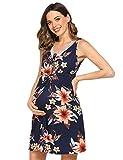 Unibelle Ropa de dormir para mujer, camisón de lactancia, ropa de maternidad, Diseño floral oscuro., M
