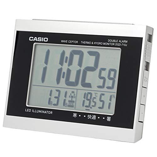 CASIO(カシオ) 目覚まし時計 電波 シルバー デジタル ダブルアラーム 温度 湿度 カレンダー 表示 DQD-710J-8JF