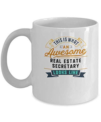 Divertida taza de café para secretaria de bienes raíces, impresionante trabajo, ocupación, regalos para el día de la madre, novedad, tazas divertidas, regalo de 11 onzas