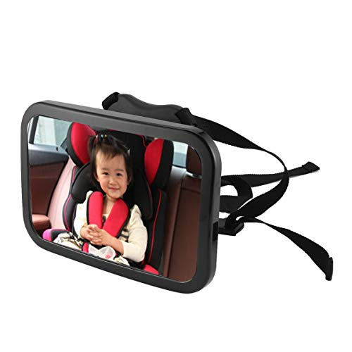 Sunnyflowk Adjustable Car Baby Safety Mirror 360 Degree Rotation Rear View Backseat Baby Mirror Infants Interior Monitor Reverse Mirror (black)