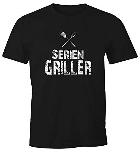 MoonWorks Herren T-Shirt Seriengriller Fun-Shirt Gríll-Shirt schwarz XL