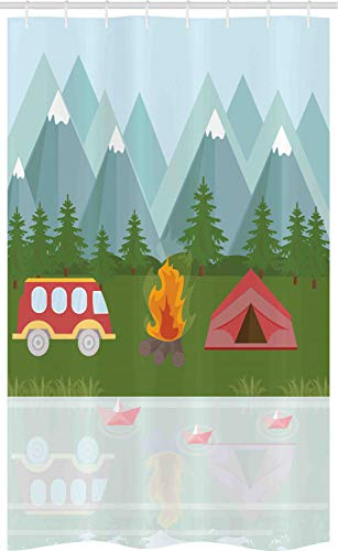 ABAKUHAUS kampeerder Douchegordijn, Cartoon Caravan Tent, voor Douchecabine Stoffen Badkamer Decoratie Set met Ophangringen, 120 x 180 cm, Veelkleurig