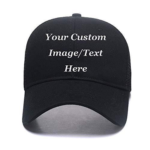 Custom Hats,Fashion Ponytail Hat for Women Men Funny Messy Buns Mesh Trucker Baseball Hats Snapback Visors Black
