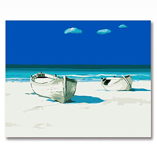 DIY-Paisaje de Barco Junto al mar Pintar por Numeros Adultos DIY Arte De La Pared Digital Pintura De La Lona De Navidad Regalo Decoración para El Hogar- sin Marco 30x40cm