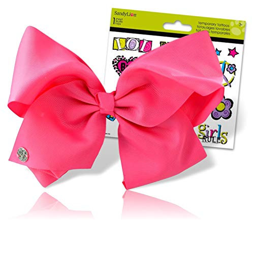 JoJo Siwa Bows Signature Collection Hair Bows for Girls - JoJo Bow Bundled with Best Friends Forever BFF Temporary Tattoos (Jojo Siwa Signature Collection Large Pink Cheer Hair Bow)