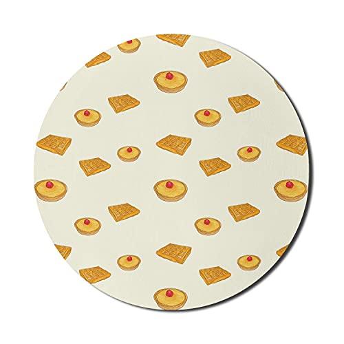 Dessert-Mauspad für Computer, handgezeichnete Crème Brûlée-Torte und Waffeln im Doodle-Stil, rundes, rutschfestes, modernes Gaming-Mousepad aus dickem Gummi, 8 'rund, elfenbeinfarbener Bernstein
