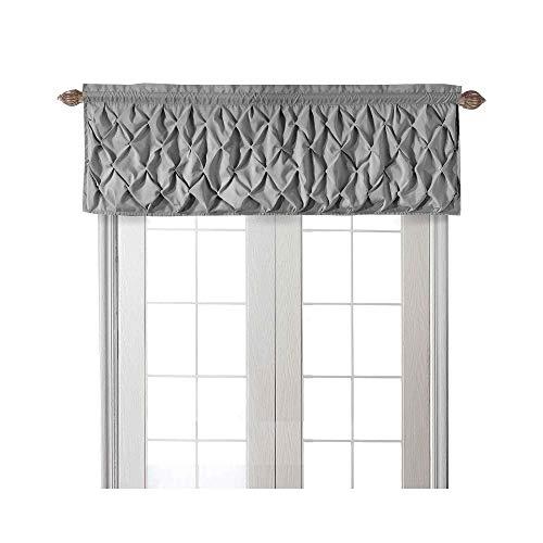 "VCNY Home Carmen Collection Window Curtain Valance Set with Rod Pocket - Lattice-Smocked Diamond Design Dressing Treatment - Bedding and Kitchen, 60"" x 20"", Gray"