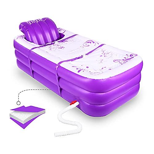 Aufblasbare tragbare Badewanne, aufblasbare Badewanne für das Spa für Erwachsene und heißes Bad und Eisbad, faltbare freistehende Badewanne mit zusammenbaubarem Sitzkissen (lila)