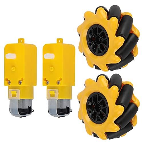 BOLORAMO Rueda de Coche Robot Inteligente, Material de Goma Kit de Rueda Mecanum Núcleo magnético Fuerte Materiales prácticos respetuosos con el Medio Ambiente para el Robot pequeño de Coche