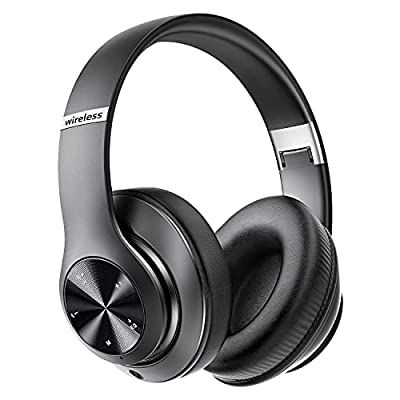 9S Bluetooth Headphones Over-Ear,Foldable Wireless Hi-Fi Stereo Headset,[60 Hrs Playtime] Wireless Bluetooth Headset Built-in Mic,6EQ Modes,Volume Control,FM for Phone/PC(Black) by Prtukyt