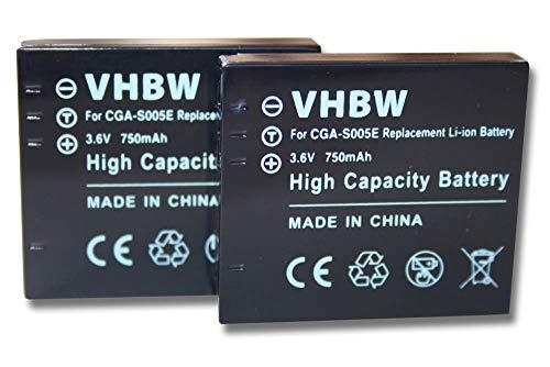 vhbw 2X Li-Ion Akku Set 750mAh (3.6V) kompatibel mit Kamera Leica D-Lux 2, D-Lux 3, C-Lux 1, FUJIFILM FinePix F20, F40fd, F45fd, F47fd.
