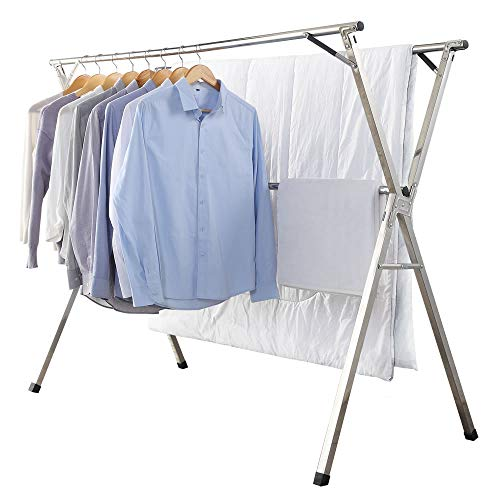 Clothes Drying Rack for Laundry FoldableStainless Steel Laundry Drying Rack for Indoor OutdoorFoldable Easy Storage Clothes Fack for DryingFree of Installation Garment Rack Space Saving 59 Inches