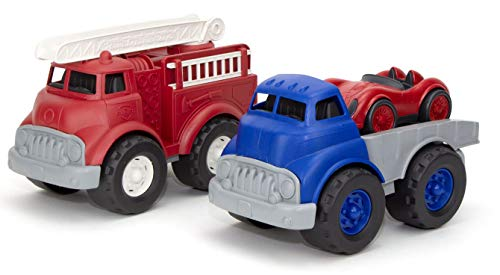 Green Toys Fire Truck, Red & Flatbed w/Race Car - Pretend Play, Motor Skills, Kids Toy Vehicles. No BPA, phthalates, PVC. Dishwasher Safe, Recycled Plastic, Made in USA.