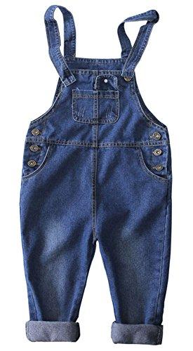 CYSTYLE Latzhose Baby Kleinkind Jungen Mädchen Jeanshose Baumwolle Tasche Jeans Hosen (90/Körpergröße 80-85cm)