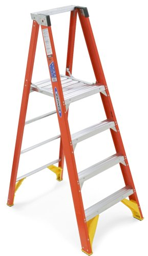 Werner P6204 300-Pound Duty Rating Fiberglass Platform Ladder, 4-Foot