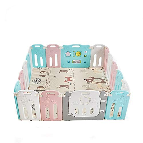 Great Deal! Tuuertge Foldable Baby Playpen Kids Panel Fence Portable Center Breathable Mesh for Babi...
