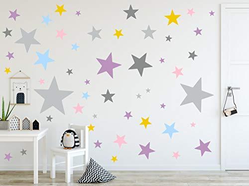 timalo® 120 Stück Wandtattoo Kinderzimmer XL Sterne Pastell Wandsticker – Aufkleber | 73079-SET15-120