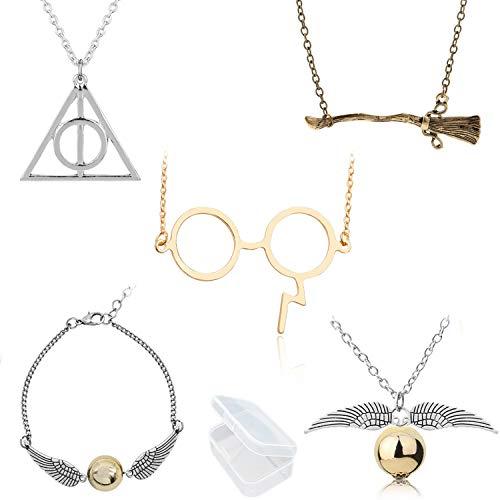 YouU 5 pz Conjunto de Collar de Reliquias de la Muerte Collar y Pulseras de Snitch Dorada, Gafas y Collar de Escoba para Fanáticos de Colección de Regalos Cosplay