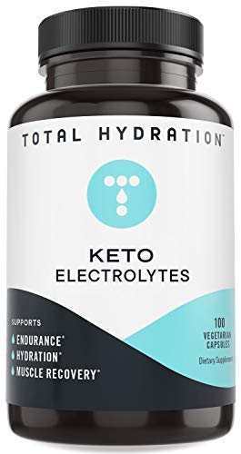 Total Hydration Keto Electrolyte (100 Vegetarian Capsules) | Electrolyte Pills for Endurance, Hydration, Recovery | Vegan-Friendly Electrolyte w/Magnesium, Calcium, Sodium, Potassium, Chloride