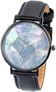 [ブルッキアーナ]BROOKIANA メンズ レディース マザーオブパール 神秘的 36mm ブラックパール ブラック レザー BA3101-BPBLBK 腕時計 [並行輸入品]