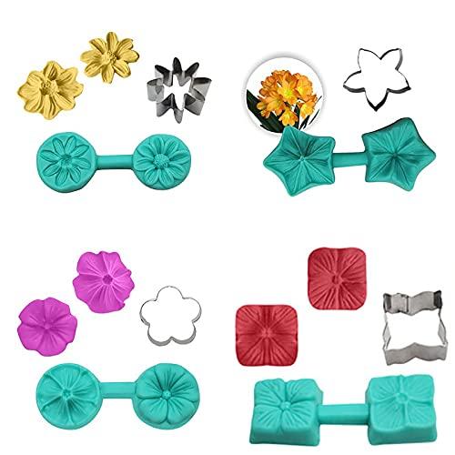 8 moldes de silicona para manualidades, 4 moldes de acero inoxidable para fondant y galletas, hechos a mano, herramientas para hornear, regalo