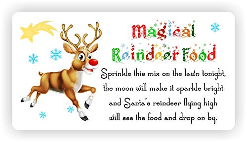 Magical Reindeer Food, 24x Rectangle Stickers with Rounded Corners, Size Approx 63x34mm, Christmas DIY Craft Supplies, Xmas Gift Seal, Labels (White NX86c)