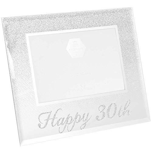 Cadre photo argenté à paillettes « Joyeux 30ème anniversaire » - Idée cadeau