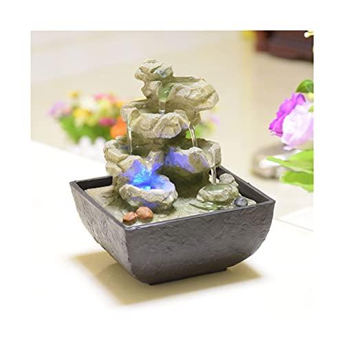 Fuentes De Agua Interior - Resina Artesanía Regalos Feng Shui Wheel Drktop Fountain para La Oficina En Casa Decoración De La Casa De Té (Color : D)