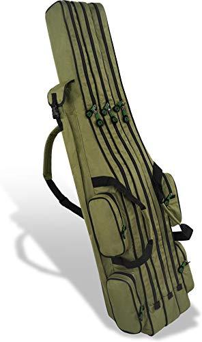 Rutentasche Rod Case Angelkoffer Futteral mit 3 Ruten-Fächern, Verschiedene Längen wählbar - stark wasserabweisender Fishing Rucksack Farbe Olive 2 Innenfächer Größe 160 cm