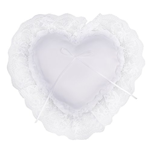 Milageto Cuscino Cuscino Portatore Anello Cuore Cerimonia Nuziale con Ampio Bordo in Pizzo Bianco Satinato