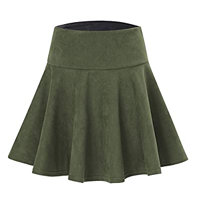 JXJCVF Women's Faux Suede Stretchy Pleated Flared Skater Mini Short Skirt