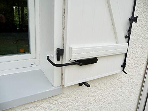 BLOQUE VOLET NOIR SPECIAL PVC: 2 Arrêts de volet avec poignée + 2 Adaptateurs PVC pour ouvrir et fermer facilement tous volets battants sans se pencher. Blocage des volets ouverts. Facilité et sécurité au quotidien.
