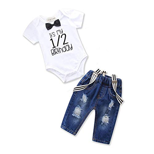 Toddler Baby Boy Clothes Set Bowtie Romper Suspenders Ripped Denim Pants Outfits (Half Birthday-1Short, 6-12 Months)