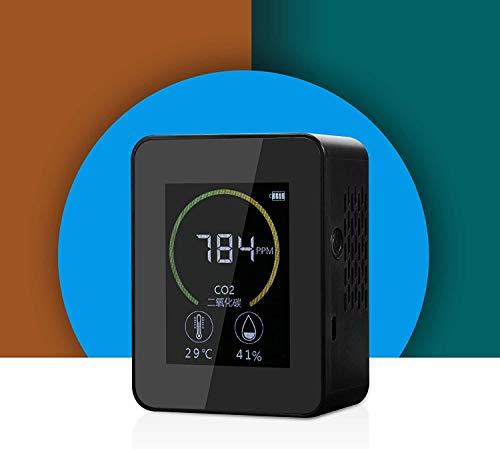 co2 messgerät mit Temperatur&Feuchtigkeits, CO2-Meter-Tester Fuer mit Akku Tragbarer Gaskonzentration Inhalt Farbbildschirm TFT USB-Lithium-Batterie-Ladung (Schwarz)