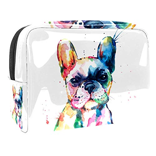 Frenchie French Bulldog Watercolor Funny Waterproof Cosmetic Bags PVC Zippered Toiletry Bag Portable Travel Makeup Bag Carry Pouch for Women Girls, Vacation Bathroom Organizing